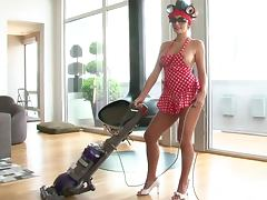 Pretty Jamie Graham Looking Lovely with Curlers and a Vacuum Cleaner