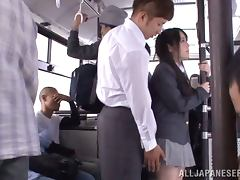 Nice Momoka Nishina gets teased right in the bus tube porn video