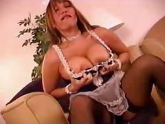 French maid Ava playing with a bottle porn tube video