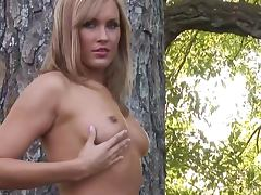Pretty Blonde Candy Christensen Playing Outdoors with Her Natural Titties