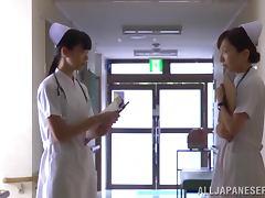 Slutty Japanese nurse undresses and gives a blowjob