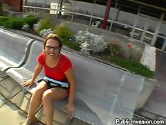 Busty Chick in Glasses Sucking Cock for Facial Cumshot in Public POV