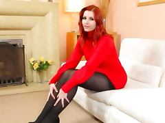 Redhead in nylons undress in red shoes