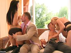 Aletta Ocean and Tarra White having fun with two guys