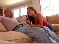 Bald guy has super cock and young brunette stripper is all too eager to get it inside of her
