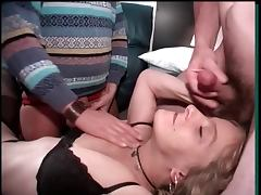 Husband watch when a stanger cum on wifes face