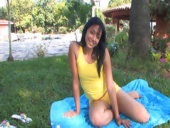 Ana Sofia Castro is penetrating her lovely shaved snatch