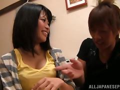Japanese slut feels happy to get her pussy fucked deep and hard