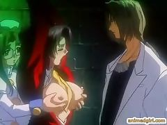 Bondage hentai gets hard threesome fucked by shemale anime nurse
