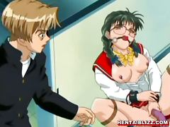 Big breasted anime schoolgirl pinches her nipples