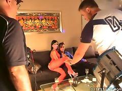 backstage scenes of hot porn video of FFM THREESOME