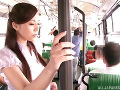 Delicious Japanese Doll Gets Groped and Fingered On The Bus tube porn video