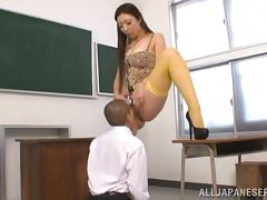 Erika Takashita gets her vag fingered and fucked in a classroom