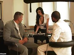 Backstage footage with Aletta Ocean getting both her holes fucked in nasty dp video