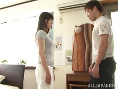 Japanese cutie gets her pussy licked fingered and stunningly fucked