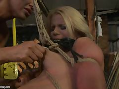 Submissive blonde girl gets her nipples pinched and pussy toyed