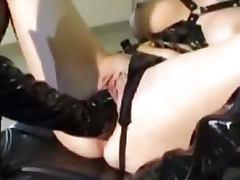 Latex lesbian kinky fisting group fetish