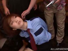 Beautiful Cop Ai Haneda Has Two Guys Fucking Her Face