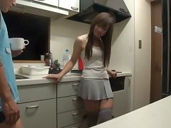 Gorgeous Horny Japanese Girl Getting Fucked in the Kitchen