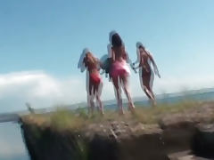 Lesbian Teen Threesome Outdoors