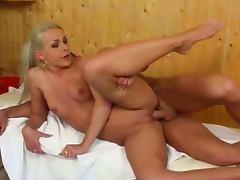 In sauna with pretty blonde