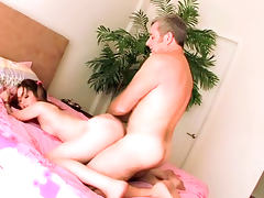 Pigtailed brunette Jewel Bancroft is getting drilled
