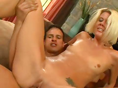Nasty blonde Jennie McCarthy is fucking in her mouth