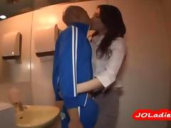 Busty Office Lady Giving Handjob For Skinny Guy In The Restroo