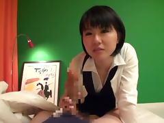 Lewd Japanese chick enjoys licking some horny man's prick
