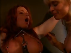 Nina Hartley and a big tits redhead into bondage and BDSM