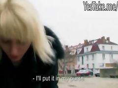 Pretty amateur blonde Czech girl Laura pussy stuffed for cash
