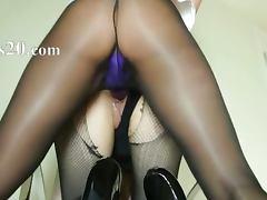Secret pornstars sucking strap on dildo