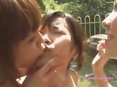 Asian Girl Getting Her Pussy Licked And Fingered Outside In The Pool