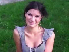 Euro beauty shows her tits on boat