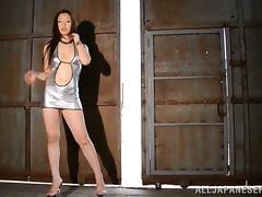 Tall Japanese in High Heels Erika Takashita Handjobs a Small Asian Dude