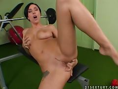 Sexy training with a naked siren Eva Black