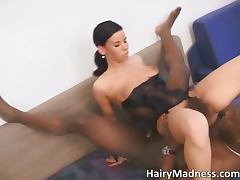 Awesome sexy dark haired babe gets hairy