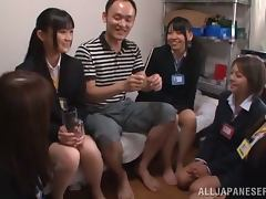 Five Japanese Beauties Fucking One Cock in Reverse Gangbang