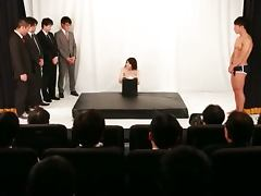 Busty Japanese Akane Mizuki Gets Fucked by a Bunch of Guys in Theater Show