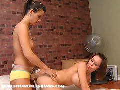 Lesbian anals with strap on