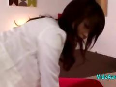 Asian Girl In White Shirt Getting Her Pussy Fucked Cum To Small Tits On The Bed In The Roo