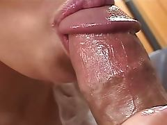 Horny japanese cougar gives head
