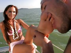 Christina and Evan sailing off to heaven