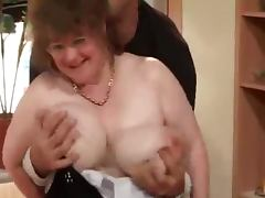 Busty granny lets the man play with her tits before he drills her cunt tube porn video