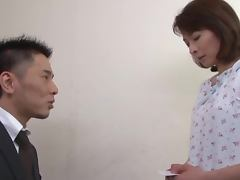Lovely looking Japanese mature plays with herself when horny