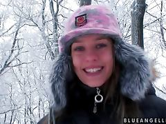 Wintertime fun with a smoking hot Blue Angel tube porn video