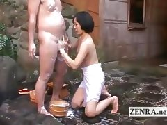 Japanese CFNM mixed bathing handjob leads to cumshot