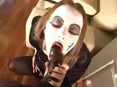 Super Goth Amateur Sucks A Black Cock