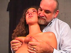 Sweet naked babe being humiliated by an old fart porn tube video