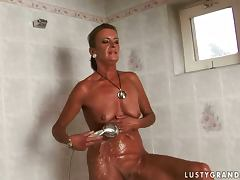 mature woman fucked after a shower